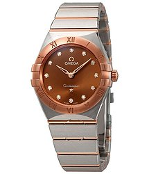 Omega Constellation Manhattan Sun-brushed Brown Diamond Dial Ladies Watch