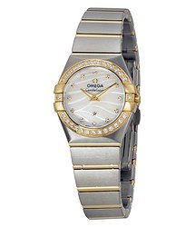 Omega Constellation Mother of Pearl Dial Steel and Yellow Gold Diamond Ladies Watch 12325246055011