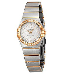 Omega Constellation Mother of Pearl Diamond Dial Brushed Steel Ladies Watch