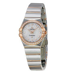Omega Constellation Mother of Pearl Diamond Dial Steel and Rose Gold Ladies Watch