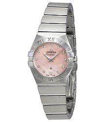Omega Constellation Pink Mother of Pear Diamond Dial Stainless Steel Ladies Watch