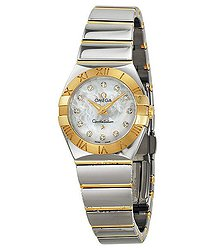 Omega Constellation Polished Quartz White Mother-of-Pearl Ladies Watch