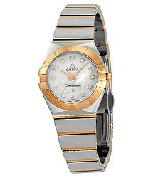 Omega Constellation Rose Gold Mother of Pearl Diamond Ladies Watch