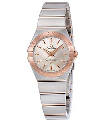 Omega Constellation Silver Dial Stainless Steel and 18K Rose Gold Ladies Watch
