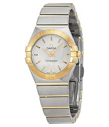 Omega Constellation Silver Dial Stainless Steel and Gold Ladies Watch