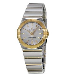 Omega Constellation Silver Dial Yellow Gold Ladies Watch
