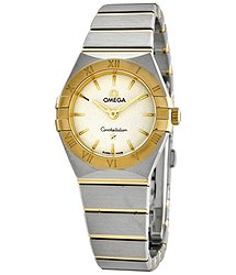 Omega Constellation White Dial Ladies Steel and 18K Yellow Gold Watch