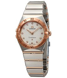 Omega Constellation White Silvery Dial Ladies Steel and 18kt Sedna Gold Watch