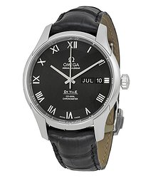 Omega De Ville Automatic Black Dial Black Leather Men's Watch 43113412201001