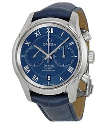 Omega De Ville Blue Dial Blue Leather Men's Watch 43113425103001