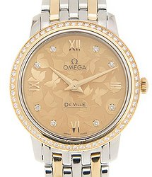 Omega De Ville Champagne Butterfly Diamond Dial Ladies Watch