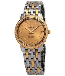 Omega De Ville Champagne Diamond Dial Ladies Steel and 18K Yellow Gold Watch