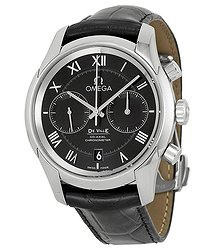 Omega De Ville Co-Axial Black Dial Black Leather Men's Watch