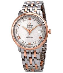 Omega De Ville Ivory Silvery Dial Automatic Men's Steel and 18kt Rose Gold Watch