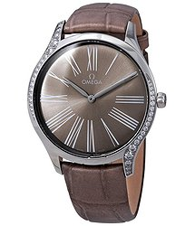 Omega De Ville Lacquered Taupe-Brown Dial Ladies Diamond Watch