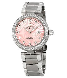 Omega De Ville Ladymatic Pink Mother of Pearl Diamomd Dial Ladies Steel Watch