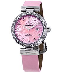 Omega De Ville Pink Mother of Pearl Diamond Dial Ladies Watch
