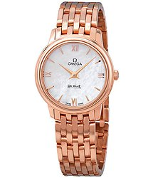 Omega De Ville Prestige 18k Rose Gold White Mother of Pearl Dial Ladies Watch