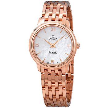 Купить часы Omega De Ville Prestige 18k Rose Gold White Mother of Pearl Dial Ladies Watch  в ломбарде швейцарских часов