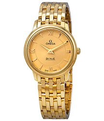 Omega De Ville Prestige 18kt Yellow Gold Champagne Dial Ladies Watch