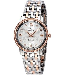 Omega De Ville Prestige Butterfly Silver Diamond Dial Ladies Watch