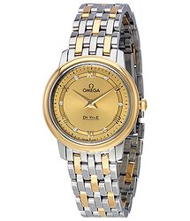 Omega De Ville Prestige Champagne Dial Two-tone Stainless Steel Quartz Ladies Watch