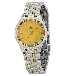 Omega De Ville Prestige Champagne Diamond Dial Steel and Yellow Gold Ladies Watch 42425246058001