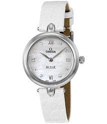 Omega De Ville Prestige Mother of Pearl Diamond Dial Leather Strap Ladies Watch