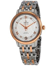 Omega De Ville Silver Diamond Dial Ladies Steel and 18kt Rose Gold Watch