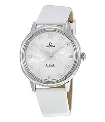Omega De Ville White Diamond Dial White Satin Ladies Watch