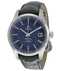 Omega DeVille Blue Dial Black Leather Men's Watch