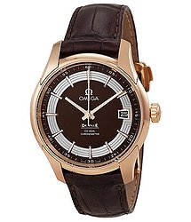 Omega Deville Hour Vision Brown Dial 18kt Rose Gold Brown Leather Men's Watch