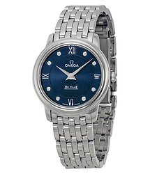 Omega DeVille Prestige Blue Diamond Dial Ladies Watch