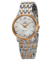 Omega DeVille Prestige Mother of Pearl Staless Steel and 18kt Gold Ladies Watch