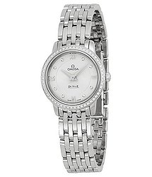 Omega DeVille Prestige Silver Diamond Dial Stainless Steel Ladies Watch
