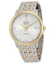 Omega DeVille Prestige Stainless Steel and 18kt Yellow Gold Silver Dial Unisex Watch 42420372002001