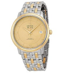Omega DeVille Prestige Steel & 18kt Yellow Gold Champagne Dial Unisex Watch
