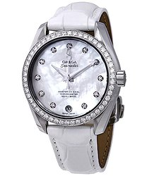 Omega Seamaster Aqua Terra Automatic Diamond White Mother of Pearl Dial Ladies Watch