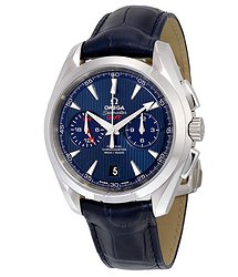 Omega Seamaster Aqua Terra Blue Dial Blue Leather Men's Watch