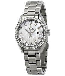 Omega Seamaster Aqua Terra Mother of Pearl Diamond Dial Automatic Ladies Watch
