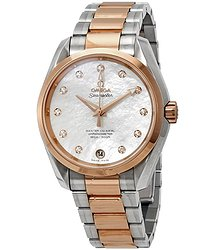 Omega Seamaster Aqua Terra Mother of Pearl Diamond Dial Steel and 18K Rose Gold Ladies Watch