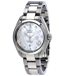 Omega Seamaster Aqua Terra White Mother of Pearl Diamond Dial Ladies Watch