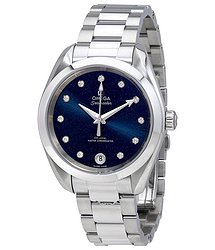 Omega Seamaster Blue Diammond Dial Automatic Ladies Watch