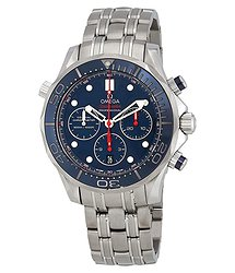 Omega Seamaster Chronograph Automatic Chronometer Blue Dial Men's Watch