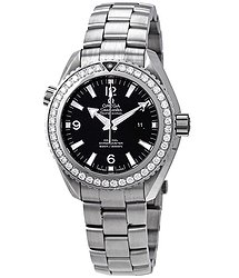 Omega Seamaster Planet Ocean Automatic Chronometer Diamond Black Dial Ladies Watch