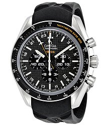 Omega Speedmaster Black Carbon Fibre Dial Chronograph GMT Rubber Men's Watch