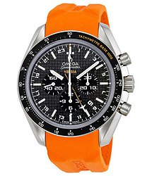 Omega Speedmaster Chronograph Men's GMT Orange Rubber Watch