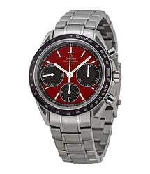 Omega Speedmaster Racing Automatic Chronograph Red Dial Stainless Steel Men's Watch