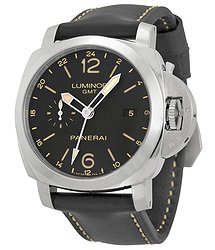 Panerai Luminor 1950 3 Days GMT 24H Automatic Acciaio Black Dial Black Leather Men's Watch