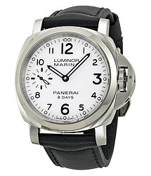 Panerai Luminor Marina 8 Days Acciaio Mechanical White Dial Men's Watch